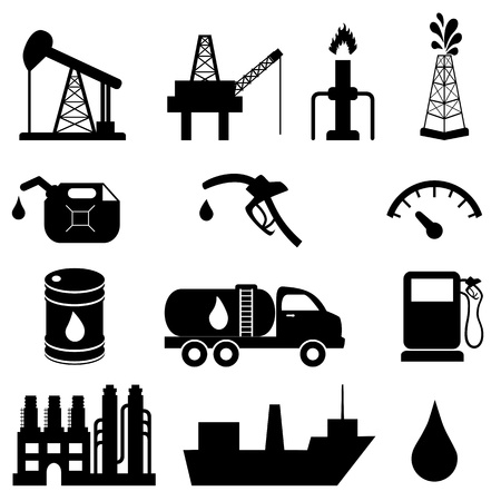 Rohöl und Mineralölprodukte icon set Illustration