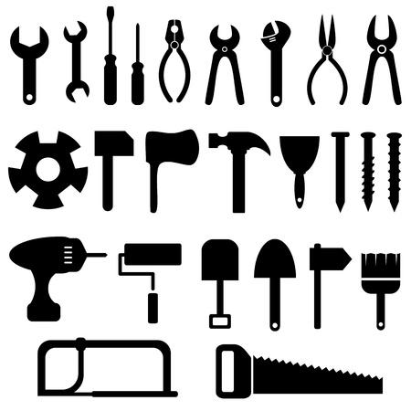 the hammer: Herramientas conjunto de iconos en negro Vectores