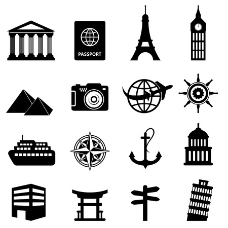 miras: Seyahat ve turizm simge seti Çizim