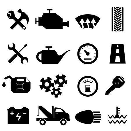 Car maintenance and repair icon set Vector