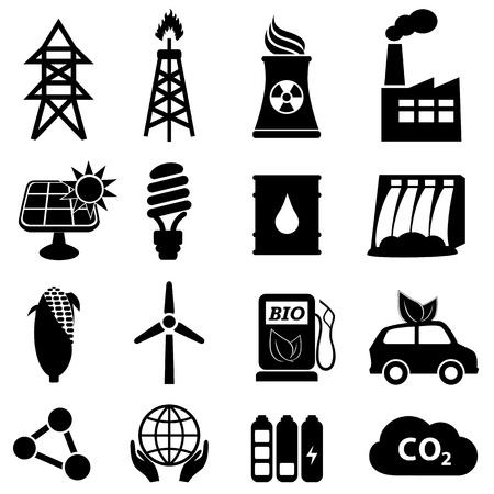 Energy icon set on white Stock Illustratie