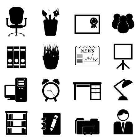 Office furniture and tools icon set