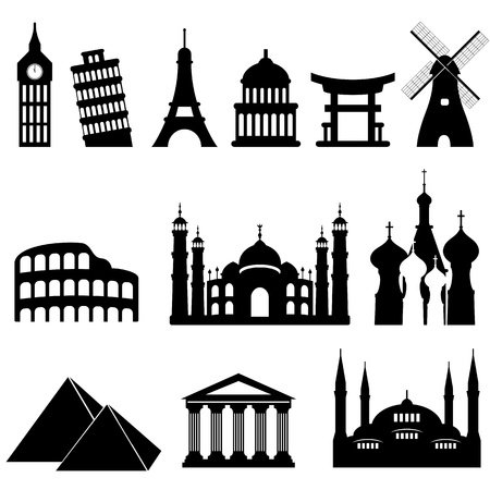 Travel famous landmarks and monuments in black Vector