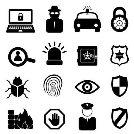 Security icon set on white background Vector