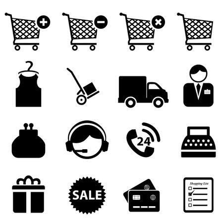 caja registradora: Cesta de conjunto de iconos sobre fondo blanco