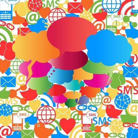 Social network symbols and speech bubbles Vector