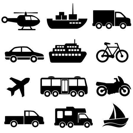 Transportation icon set on white background Vettoriali