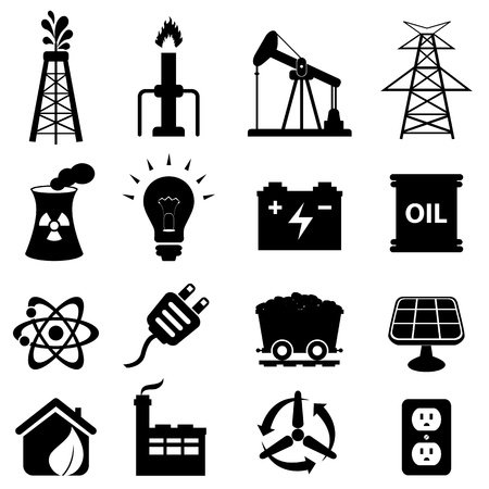 refinaria: Petróleo e conjunto de ícones relacionados com a energia