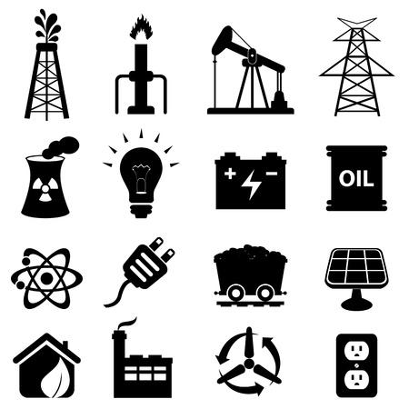 zasilania: Ropa i energia związana zestaw ikon Ilustracja
