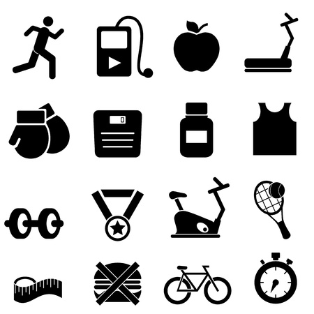 fitness hombres: Fitness, salud y dieta conjunto de iconos