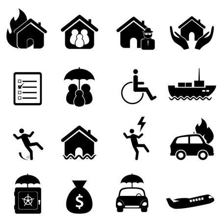 burglars: Insurance icon set in black Illustration