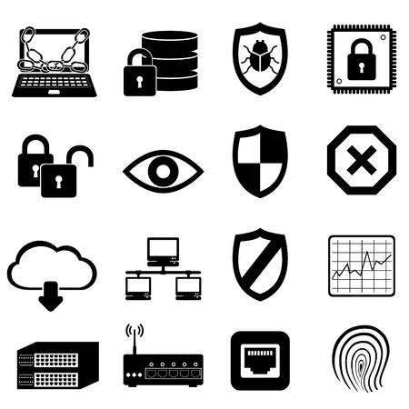 네트워크 및 컴퓨터 보안 아이콘 설정 일러스트