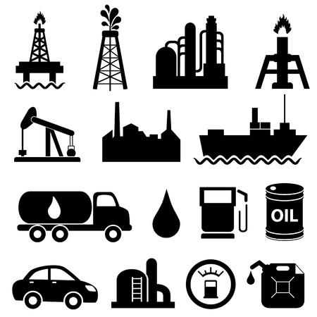refinaria: Óleo e petróleo ícone conjunto Ilustração