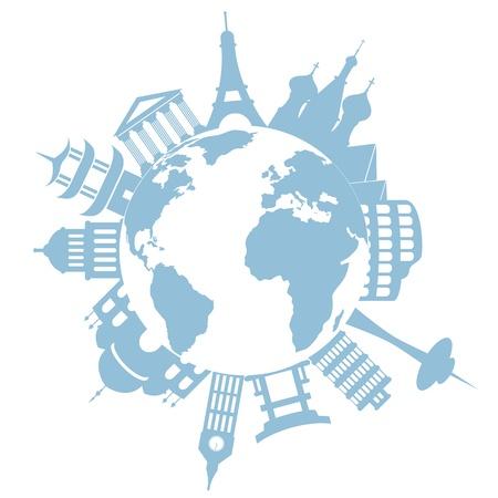 Beroemde bezienswaardigheden ter wereld en monumenten Stock Illustratie