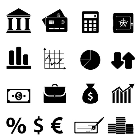 Finance, business and banking icon set Stock Vector - 15308168