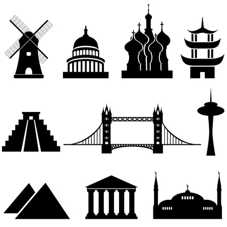 Weltweit berühmten Sehenswürdigkeiten und Denkmäler Illustration