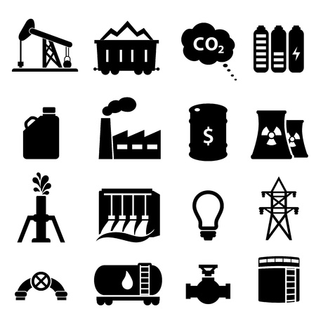 derrick: Oil and energy icon set in black Illustration
