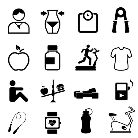 weights: Salute, fitness e dieta set di icone Vettoriali