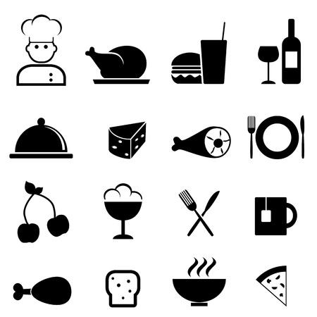 レストランや料理のアイコンを設定  イラスト・ベクター素材