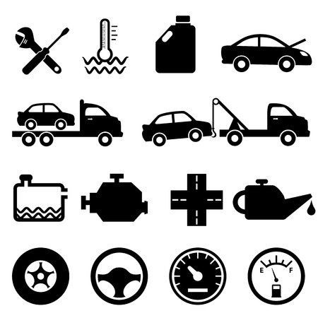 tow: Car, mechanic, repair and maintenance icon set