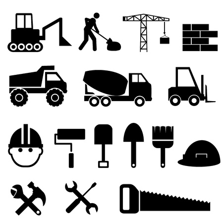Construction materials and tools icon set Vector