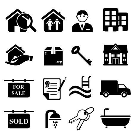 housing search: Icona immobiliare impostato in nero Vettoriali