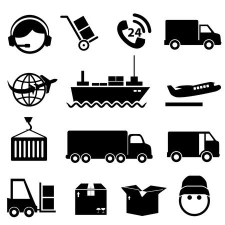 Verzending en vracht icon set in zwart Stock Illustratie