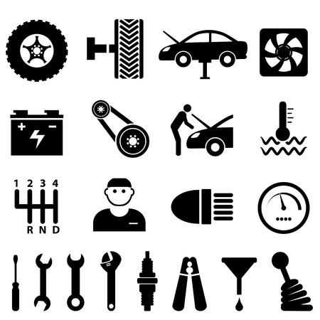 Car mantenimiento y reparaci�n conjunto de iconos