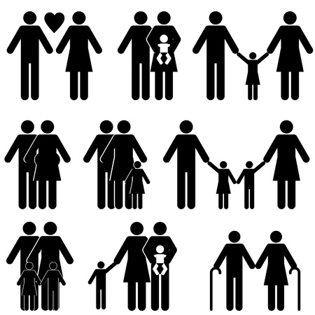 Family icon set in black