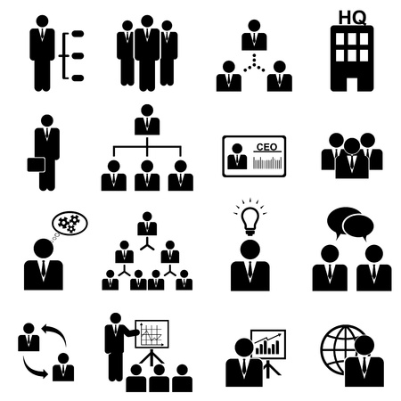 managers: Business management icon set in black