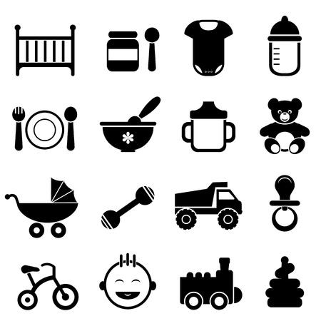 teddy bear: Beb� reci�n nacido y el conjunto de iconos en negro