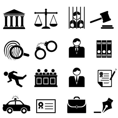 justiz: Legal, Recht und Gerechtigkeit icon set