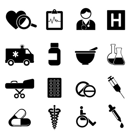 Health and medical icon set Vectores