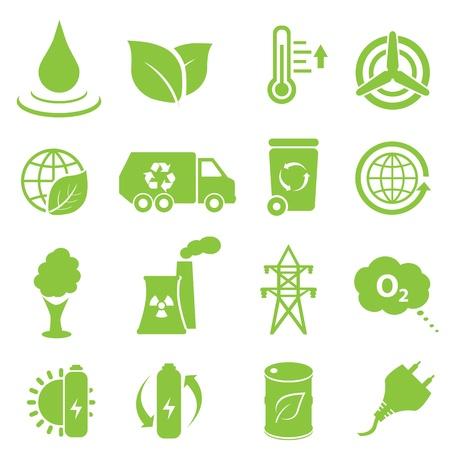 Ecologie en milieu icon set