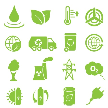 green environment: Ecology and environment icon set Illustration