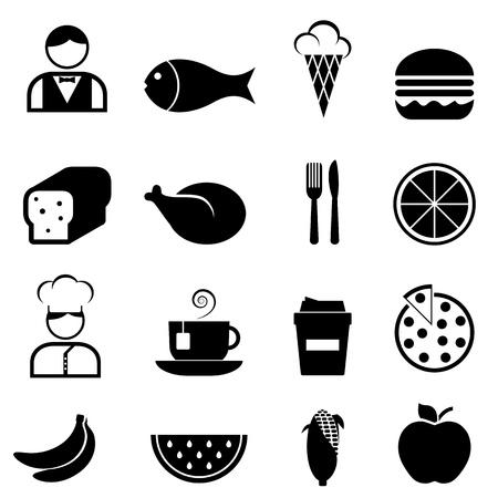 Cibo e set di icone ristorante Archivio Fotografico - 16318883