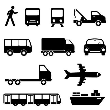 transportes: Transporte conjunto de iconos en negro Vectores
