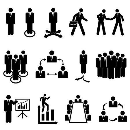 Businessmen, teams and teamwork icons Stock Illustratie