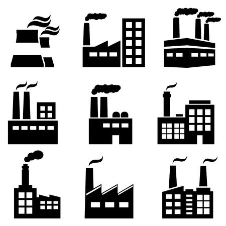 black icons: Industrial building, factory and power plants icon set Illustration