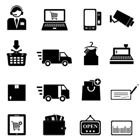 cash register: Shopping icon set in black Illustration