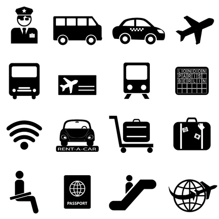 air travel: Aeroporto e viaggi aerei, icona, set Vettoriali