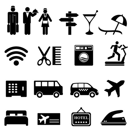 Hotel symbols icon set in black Illustration