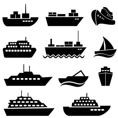 yacht isolated: Nave y conjunto de iconos barco