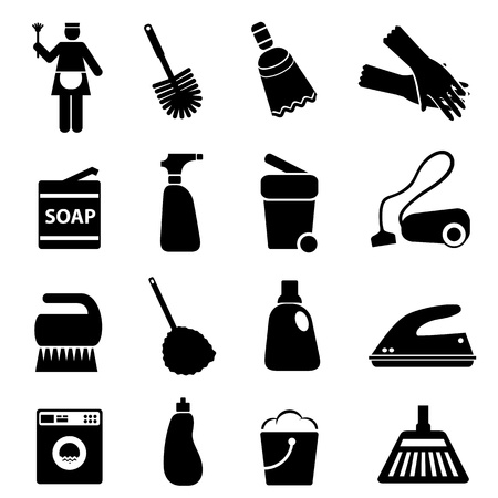 vacuum cleaning: Cleaning supplies and tools icon set