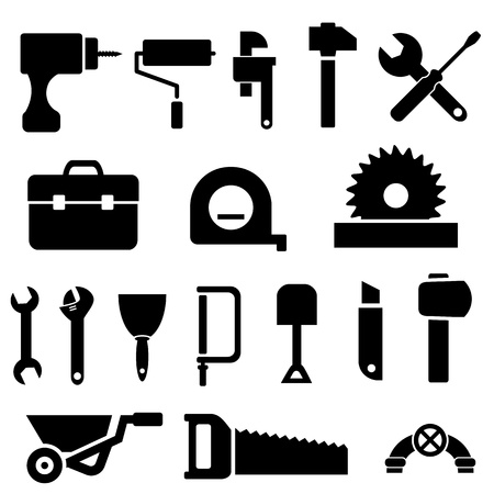 Tool and hardware icon set in black Vettoriali