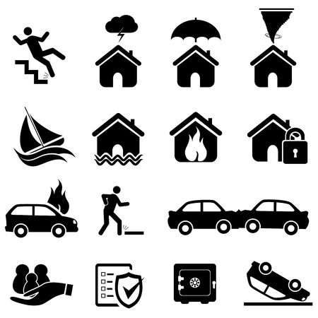Insurance and disaster icon set Vectores