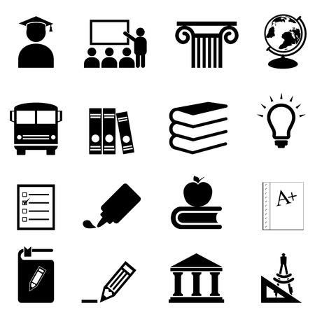 Education and schools icon set Illustration