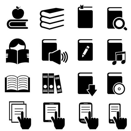 書籍、文学、読書のアイコン セット  イラスト・ベクター素材