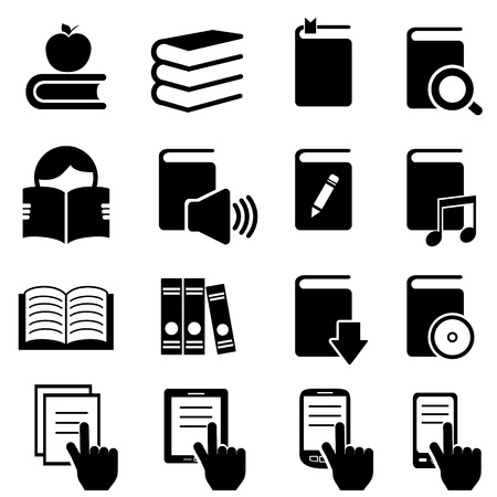 literature: Books, literature and reading icon set
