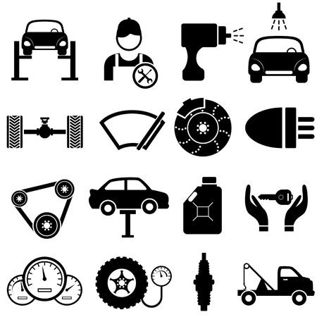 repair shop: Car mantenimiento y reparaci�n conjunto de iconos Vectores